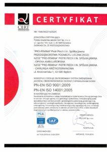 Certyfikat jakości ISO Pro Femina Będzin