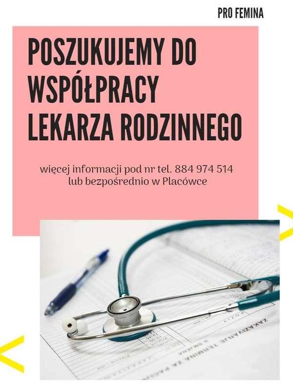 NZOZ Pro Femina Będzin poszukuje do współpracy lekarza rodzinnego